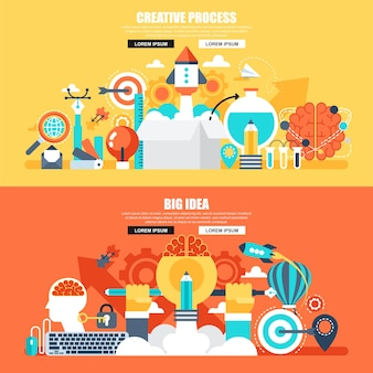 Business flat concept web banner of creative process