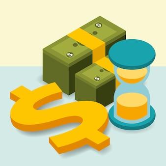 Business hourglass pile banknotes dólar dinheiro isométrico