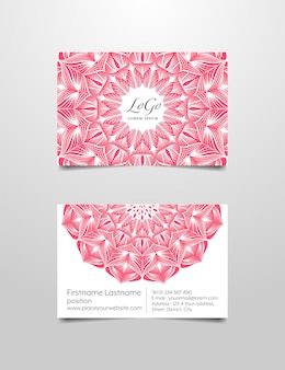 Business name card modelo de design de mandala cor-de-rosa e branco