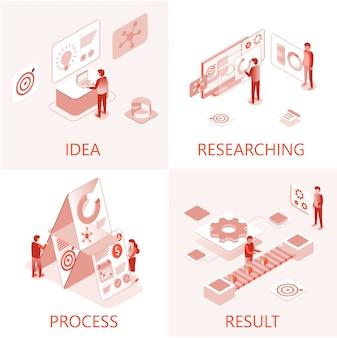 Business steps teamwork objetivo realização 3d set