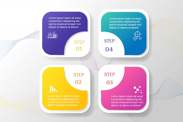 Business template 4 options infográfico elementos do gráfico