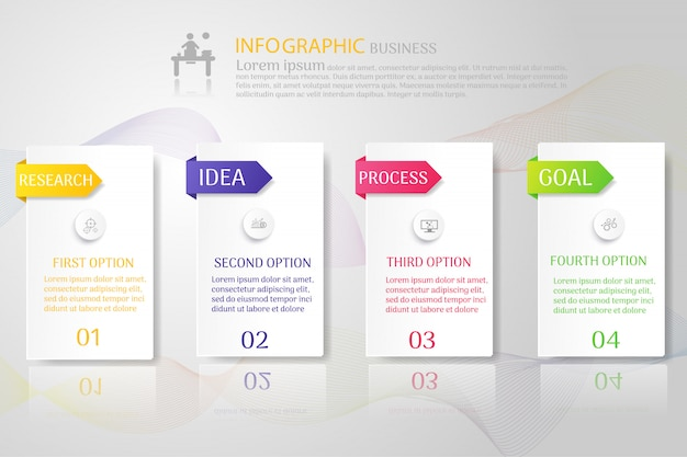 Business template 4 options infográfico elementos do gráfico