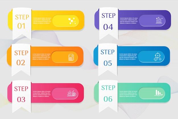 Business template 6 options infográfico elementos do gráfico