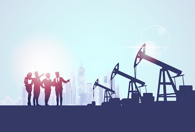 Businesspeople group oil industry business company bomba de gasolina banner