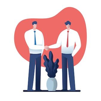 Businesss, e, escritório, conceito, -, dois homens negócios apertando mãos