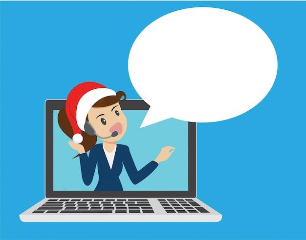 Businesswomen call center atendimento ao cliente on-line.