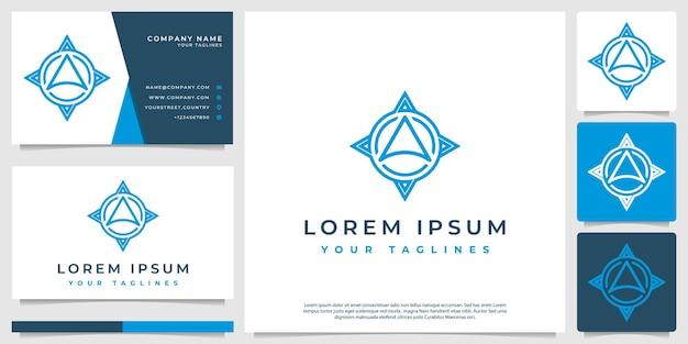 Bússola abstrata de logotipo com arte de linha