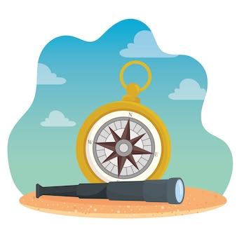 Bússola com design de telescópio mar náutico navegação oceânica viagem subaquática água e tema marinho