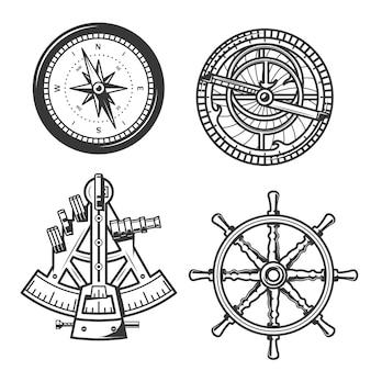 Bússola de navegação marítima, leme de navio e sextante