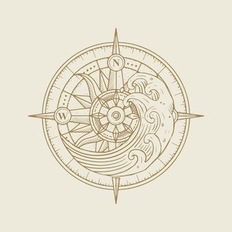 Bússola e ondas na maré alta, orientação espiritual