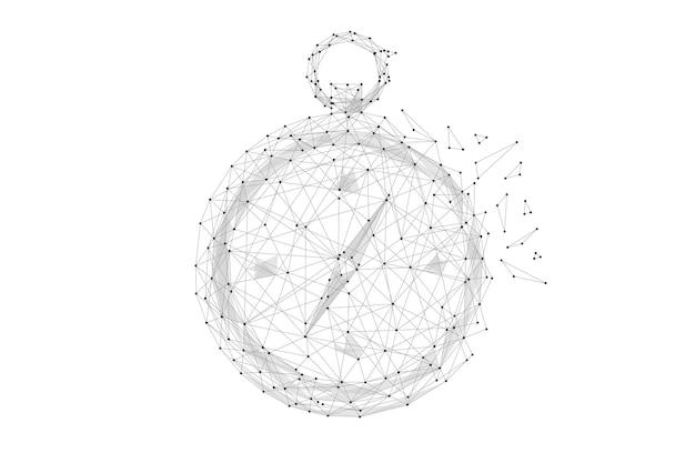 Bússola low poly preto sobre branco imagem abstrac de uma bússola na forma de um céu estrelado ou espaço
