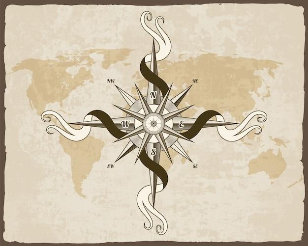 Bússola náutica vintage. mapa do velho mundo. rosa dos ventos