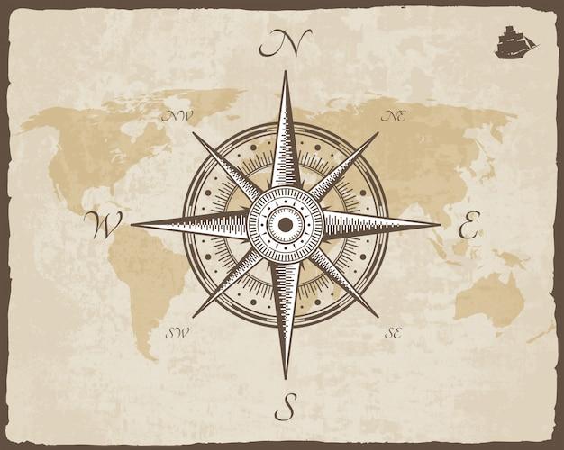 Bússola náutica vintage. textura velha do papel do vetor do mapa com quadro rasgado da beira. rosa dos ventos