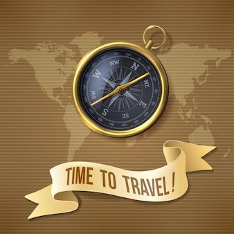 Bússola preta, é hora de viajar