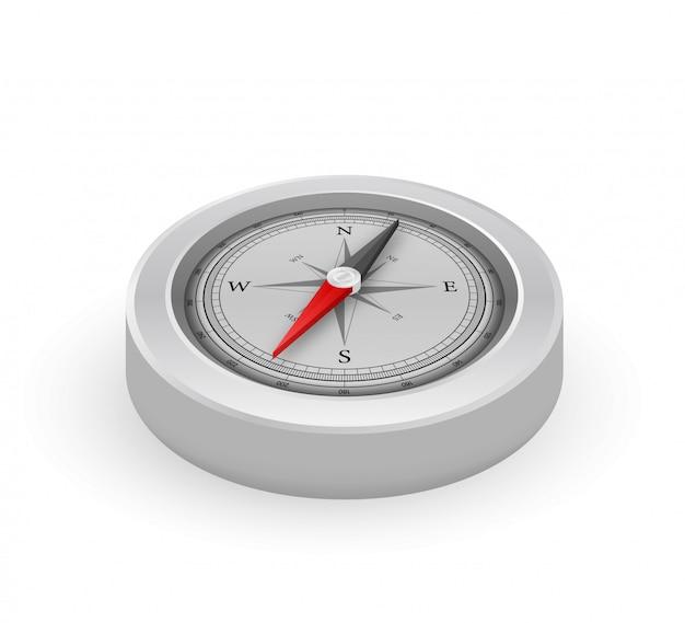 Bússola sobre fundo branco. símbolo de navegação plana. ilustração das ações.