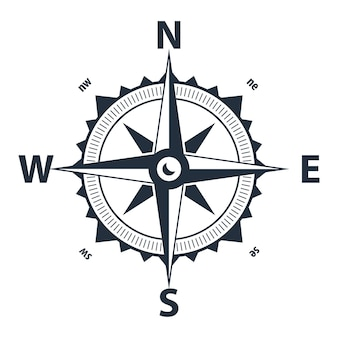Bússola vetorial. símbolo plano simples. símbolo de navegação marítima com rosa com norte, sul, leste e oeste indicados
