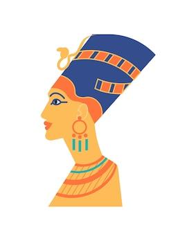 Busto antigo de nefertiti ou neferneferuaten - faraó, rainha do egito, ícone da beleza. escultura da cabeça de mulher usando coroa egípcia. personagem histórico lendário. ilustração em vetor plana.