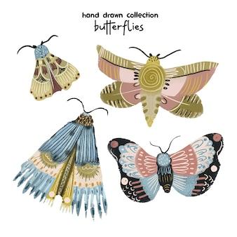 Butterflies illustration pastel desenhado a mão