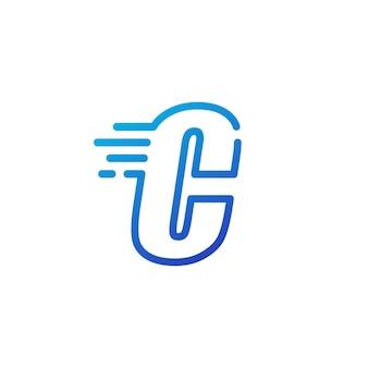 C letra traço rápido rápido marca digital linha contorno logotipo vetor ícone ilustração
