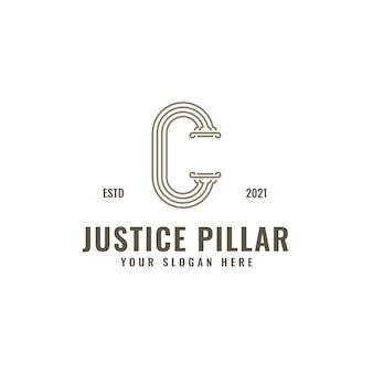 C letter logo justice and law firm pillar bold professional line art