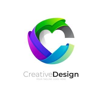C logotipo e combinação de design de amor, 3d colorido