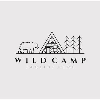 Cabana chalé acampamento linha arte logotipo ilustração vetorial design