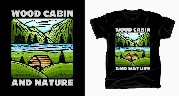 Cabana de madeira e tipografia da natureza com montanhas e camisetas do rio