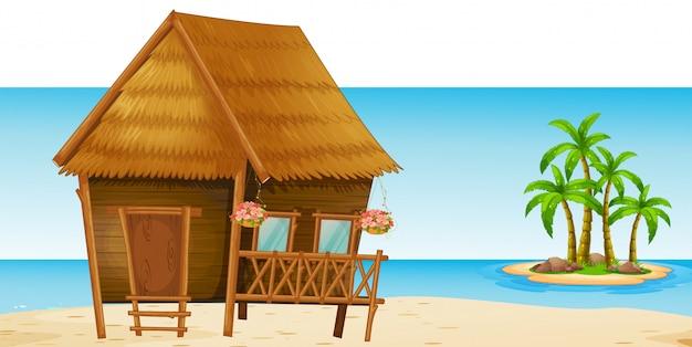 Cabana de madeira na praia