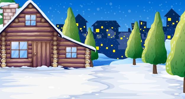 Cabana de madeira no campo de neve