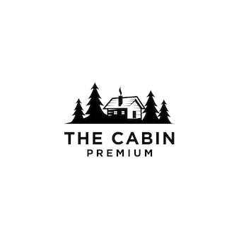 Cabana de madeira premium e floresta de pinheiros retro vector design de logotipo preto isolado fundo branco