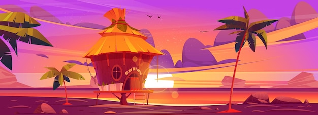Cabana de praia ou bangalô ao pôr do sol na ilha tropical