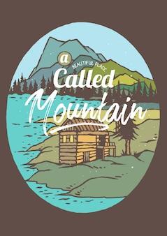 Cabana no lago e na montanha