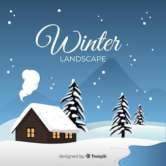 Cabana pelo fundo de inverno montanhas