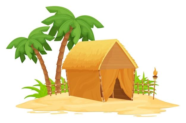 Cabana tiki na praia com telhado de palha de bambu e detalhes em madeira na areia em estilo cartoon