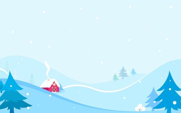 Cabana vermelha em paisagem de inverno
