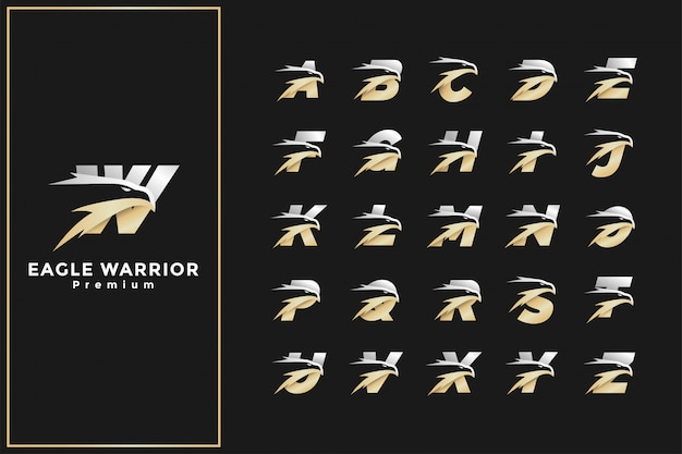 Cabeça águia letra inicial logotipo alfabeto prata ouro premium