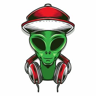 Cabeça alienígena com fone de ouvido