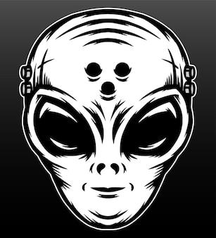 Cabeça alienígena isolada em preto