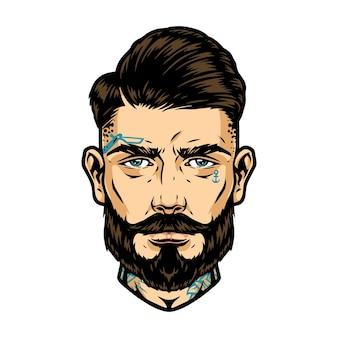 Cabeça bonita barbada e bigode com tatuagens e penteado da moda em ilustração vetorial isolada de estilo vintage