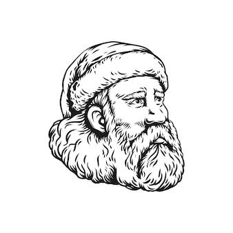 Cabeça branca e preta de ilustração de papai noel