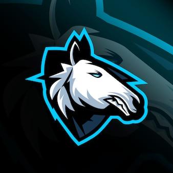 Cabeça cavalo mascote logotipo e-sport design