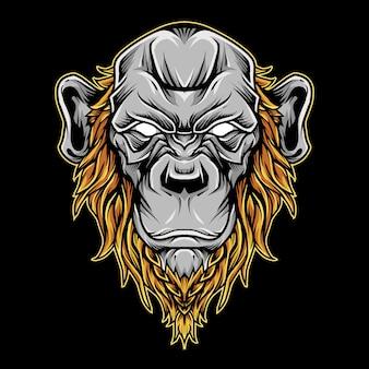 Cabeça chimpanzé careca ilustração logotipo mascote
