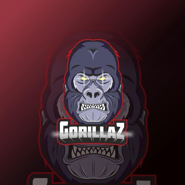 Cabeça com cara de gorila irritado e logotipo do esporte
