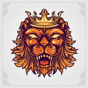 Cabeça coroa logotipo do leão com ornamentos