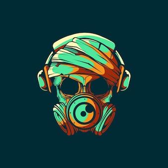 Cabeça crânio com máscara de gás e ilustração de fone de ouvido