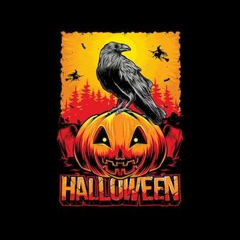 Cabeça de abóbora de halloween com vetor de corvo