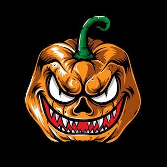 Cabeça de abóbora de halloween monstro