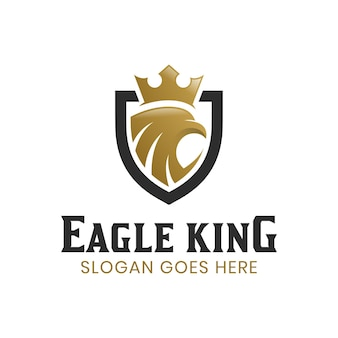Cabeça de águia abstrata moderna ou falcão com escudo e logotipo da silhueta da coroa real