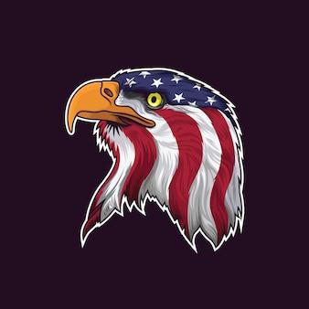 Cabeça de águia americana com bandeira eua