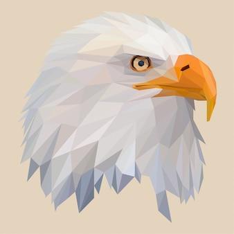 Cabeça de águia americana com estilo lowpoly